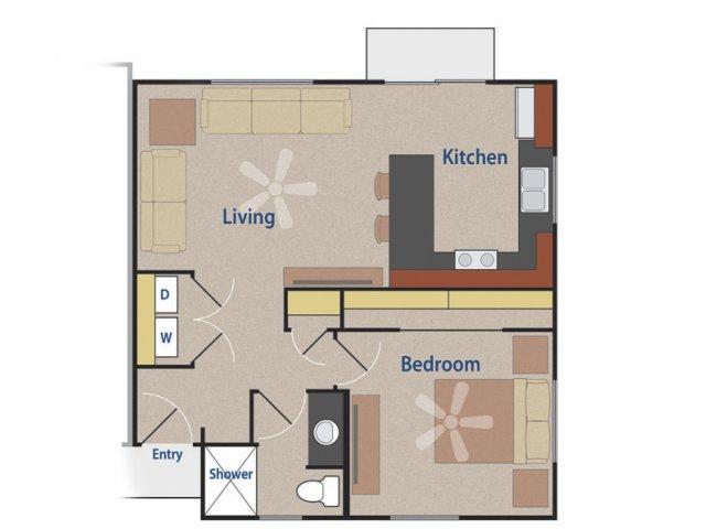 Casitas at San Marcos 1 bedroom 1 bathroom apartments for rent floor plan Chandler, AZ
