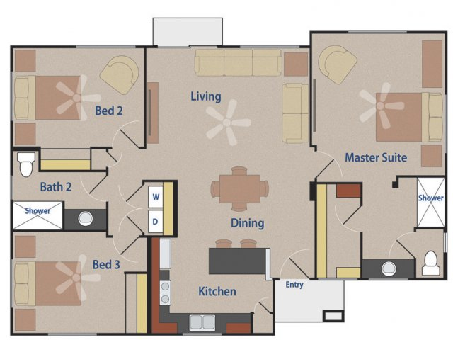 Casitas at San Marcos 3 bedroom 2 bathroom apartments for rent floor plan Chandler, AZ