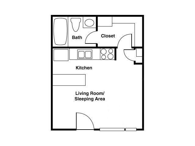 Shorebird studio apartments for rent floor plan Mesa, AZ
