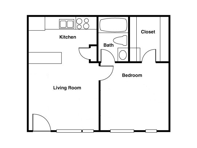 Shorebird 1 bedroom 1 bathroom apartments for rent floor plan Mesa, AZ