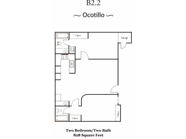 Avalon Hills Acacia Pointe 2 bedroom 2 bathroom apartments for rent floor plan Phoenix, AZ