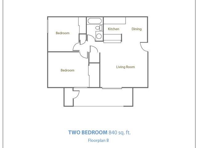Marble Creek 2 bedroom 1 bathroom apartments for rent floor plan Phoenix, AZ