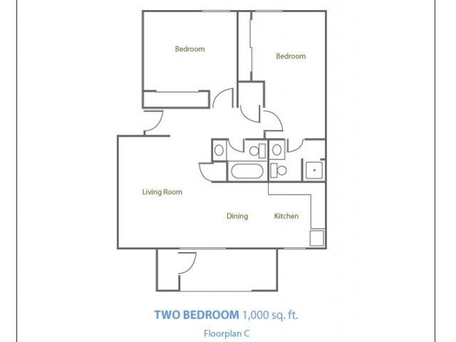 Marble Creek 2 bedroom 2 bathroom apartments for rent floor plan Phoenix, AZ