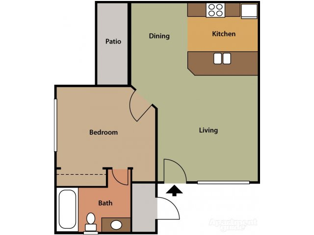 Bell Tower 1 bedroom 1 bathroom apartments for rent floor plan Phoenix, AZ