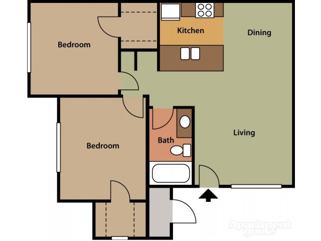 Bell Tower 2 bedroom 1 bathroom apartments for rent floor plan Phoenix, AZ
