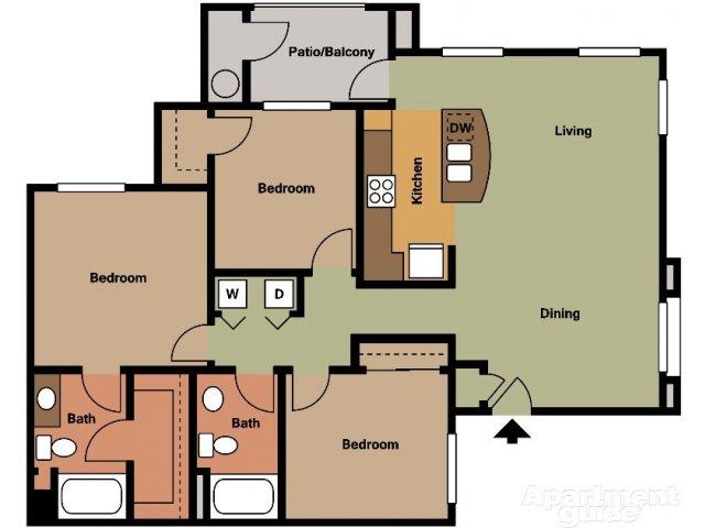 The Trails at San Tan 3 bedroom 2 bathroom apartments for rent floor plan Gilbert, AZ