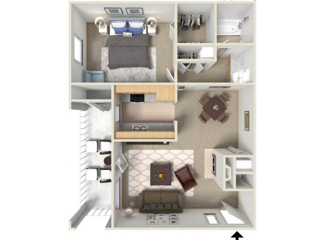 Sunrise Ridge 1 bedroom 1 bathroom apartments for rent floor plan Tucson, AZ