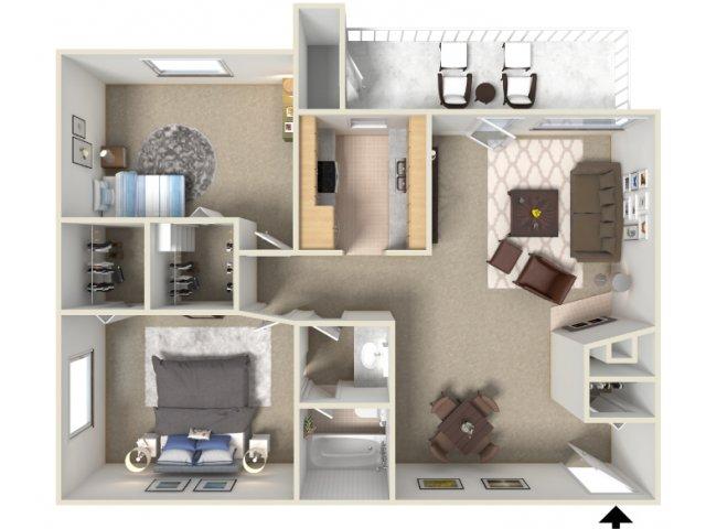 Sunrise Ridge 2 bedroom 1 bathroom apartments for rent floor plan Tucson, AZ