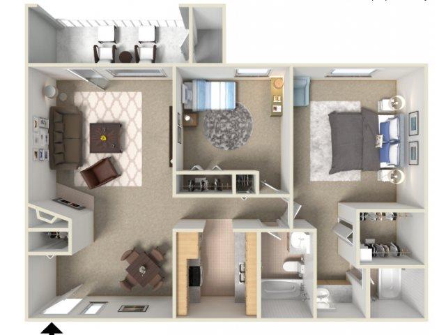 Sunrise Ridge 2 bedroom 2 bathroom apartments for rent floor plan Tucson, AZ
