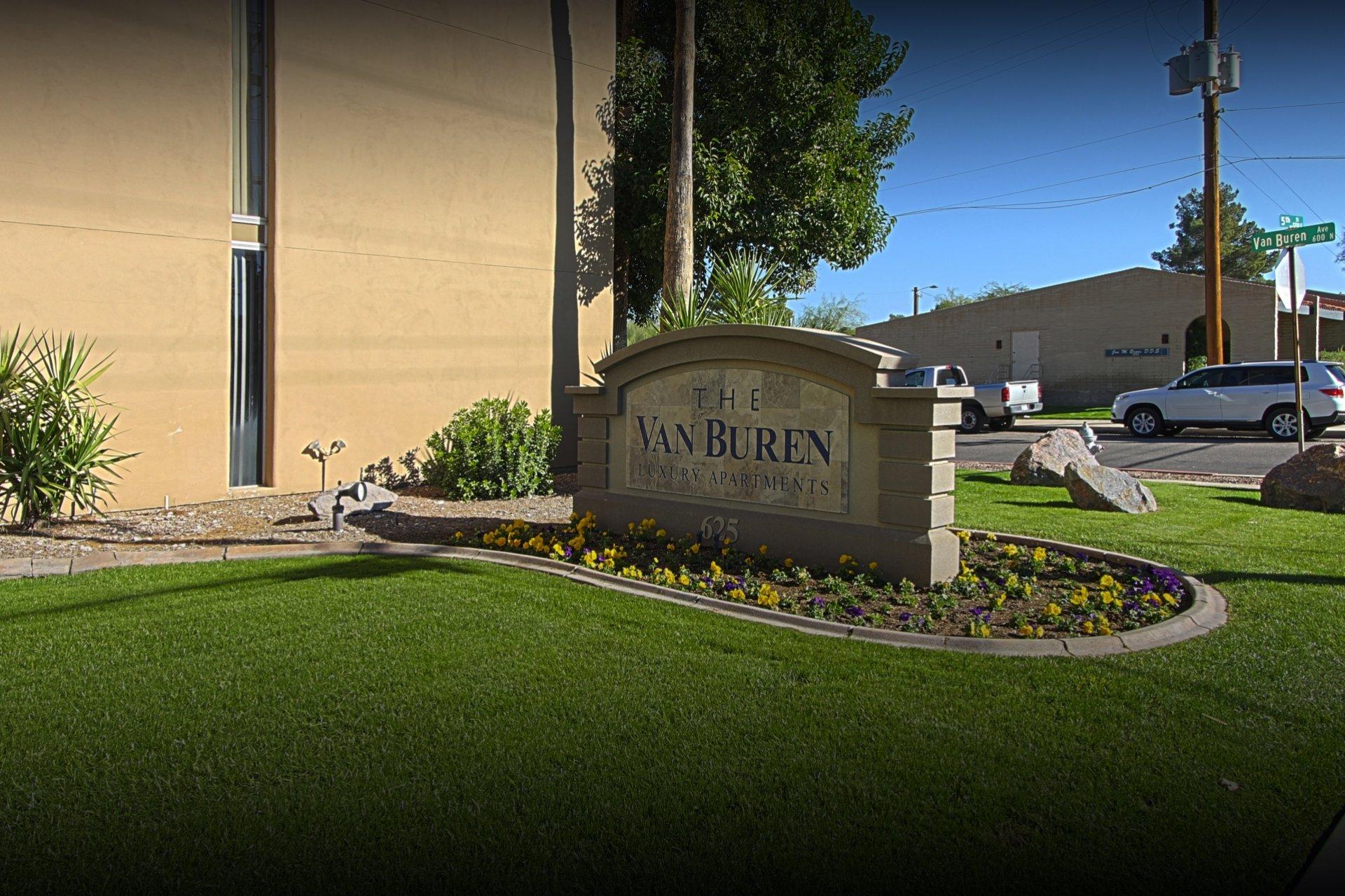 Van Buren Apartments Tucson, AZ signage