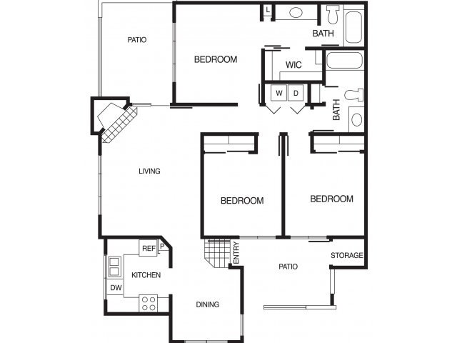 Country Brook 3 bedroom 2 bathroom apartments for rent floor plan Chandler, AZ