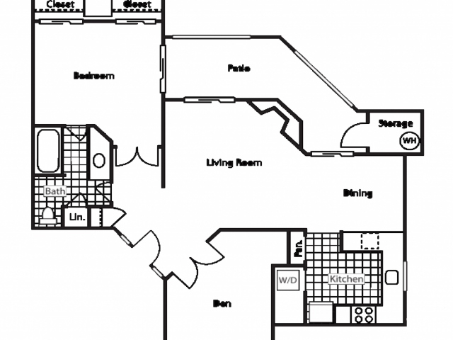 Country Brook 1 bedroom 1 bathroom apartments for rent floor plan Chandler, AZ