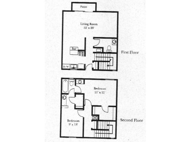 Wellington Estates 2 bedroom 1.5 bathroom apartments for rent floor plan San Antonio, TX