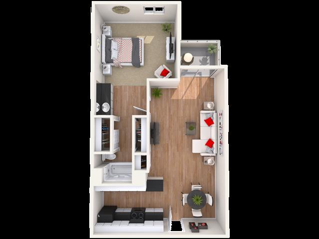 Villa Toscana 1 bedroom 1 bathroom apartments for rent floor plan Phoenix, AZ