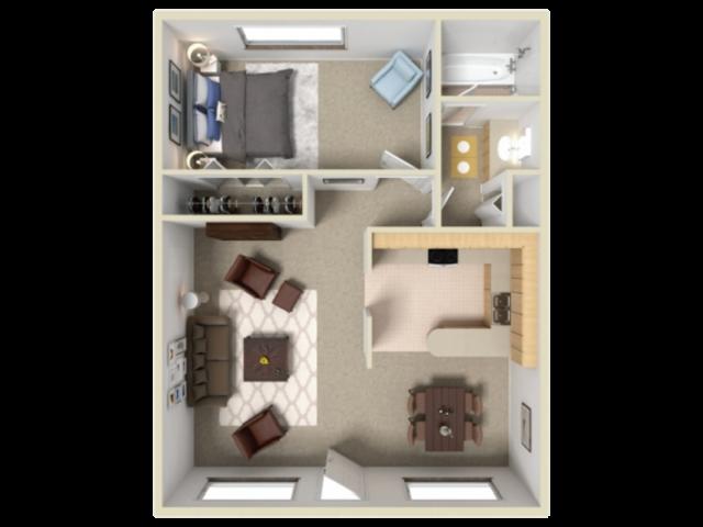 Catalina Vista 1 bedroom 1 bathroom apartments for rent floor plan Tucson, AZ