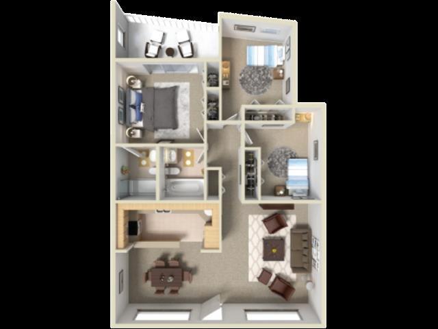 Catalina Vista 3 bedroom 2 bathroom apartments for rent floor plan Tucson, AZ