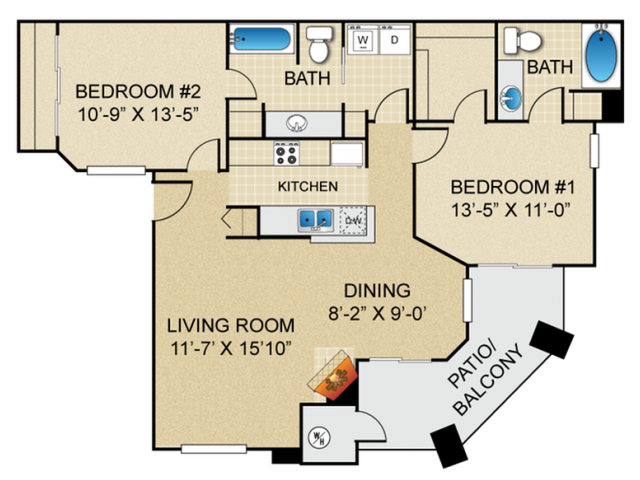 Springs at Continental Ranch 2 bedroom 2 bathroom apartments for rent floor plan Tucson, AZ