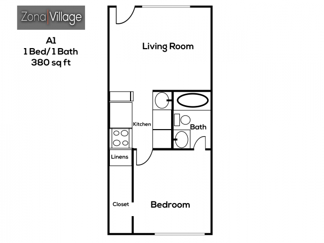 1 & 2 Bedroom Apartment Floor Plans | Zona Village Apartments ...