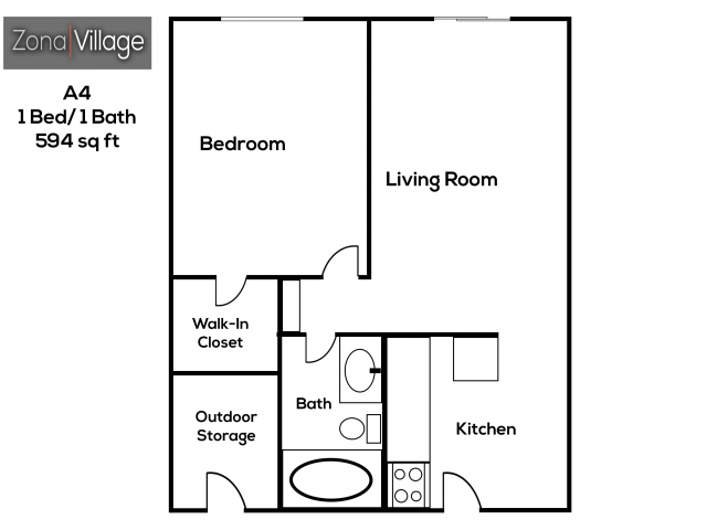 Zona Village 1 bedroom 1 bathroom apartments for rent floor plan Tucson, AZ