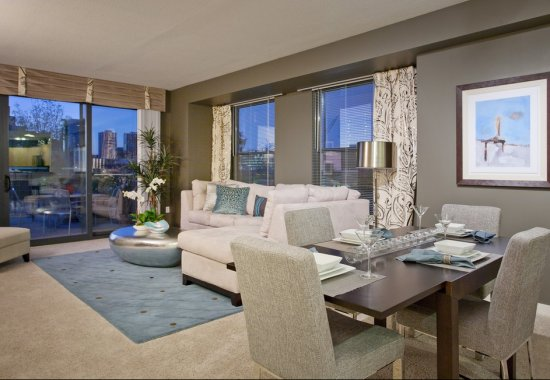 Model living area at The Manhattan by Windsor Apartments in Denver CO
