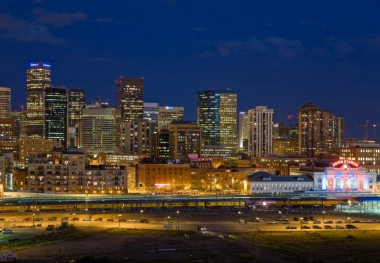 Skyline after dark at The Manhattan by Windsor Apartments in Denver CO