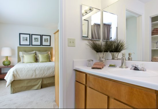 Master bed and bath at Windsor at Windermere Place Apartments in West Chester PA