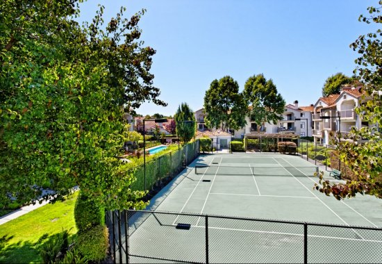 View of outdoor tennis court at Mission Pointe by Windsor Apartments in Sunnyvale CA