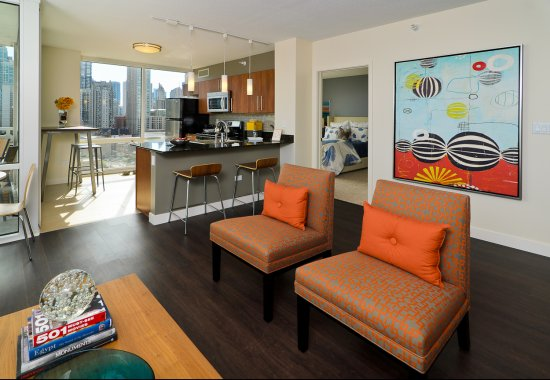 Spacious community room at Flair Tower Apartments in Chicago IL
