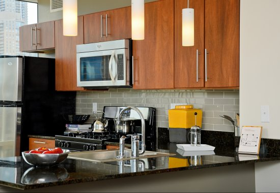 Gourmet kitchen at Flair Tower Apartments in Chicago IL