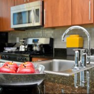 Modern kitchen at Flair Tower Apartments in Chicago IL