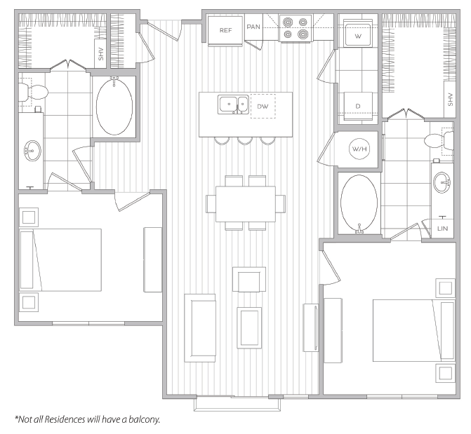 Floor Plan 16 | 1 Bedroom Apartments For Rent In Baltimore | Hanover Cross Street