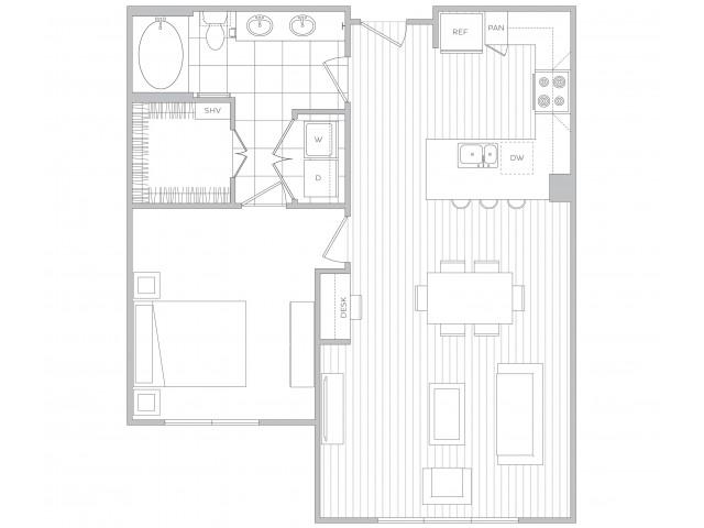 Floor Plan 8 | Luxury Apartments In Sandy Springs Ga | Hanover Perimeter