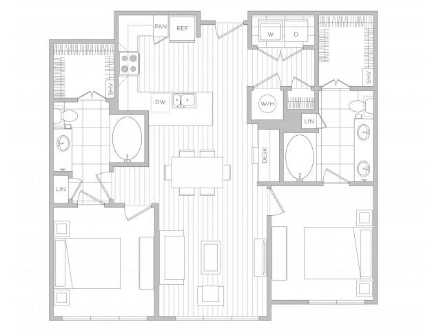 Floor Plan 13 | Luxury Apartments Sandy Springs Ga | Hanover Perimeter