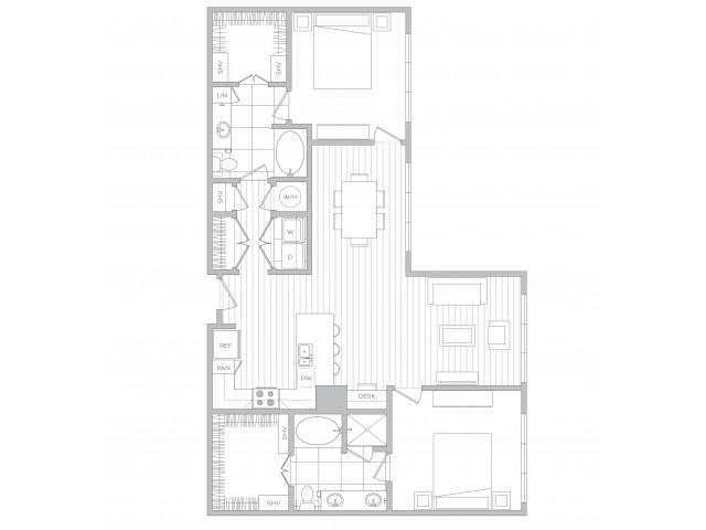 Floor Plan 21 | Luxury Apartments In Sandy Springs Ga | Hanover Perimeter