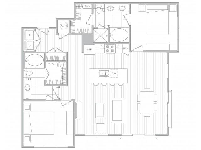 Floor Plan 22 | Sandy Springs Luxury Apartments | Hanover Perimeter