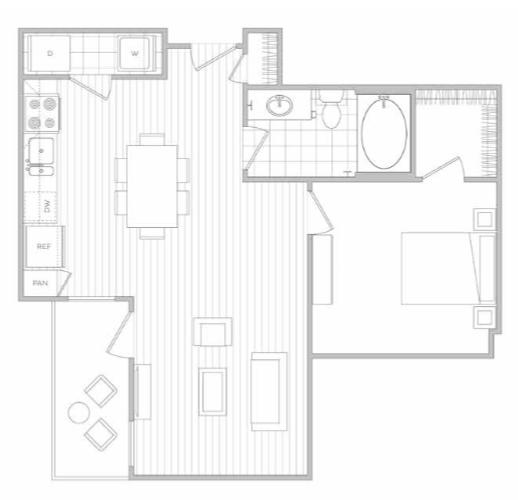 Floor Plan 4   Dallas Texas Luxury Apartments   Hanover Midtown Park