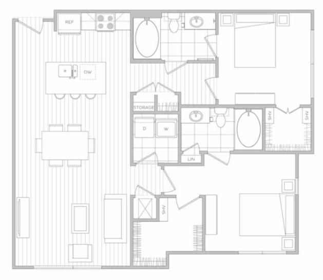 Floor Plan 9   Luxury Apartments In Dallas Tx   Hanover Midtown Park