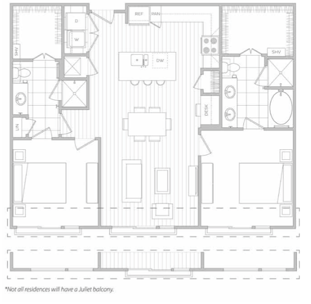 Floor Plan 11 | Luxury Apartments In Dallas Texas | Hanover Midtown Park