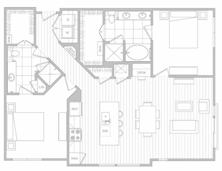 Floor Plan 12   Dallas Texas Luxury Apartments   Hanover Midtown Park