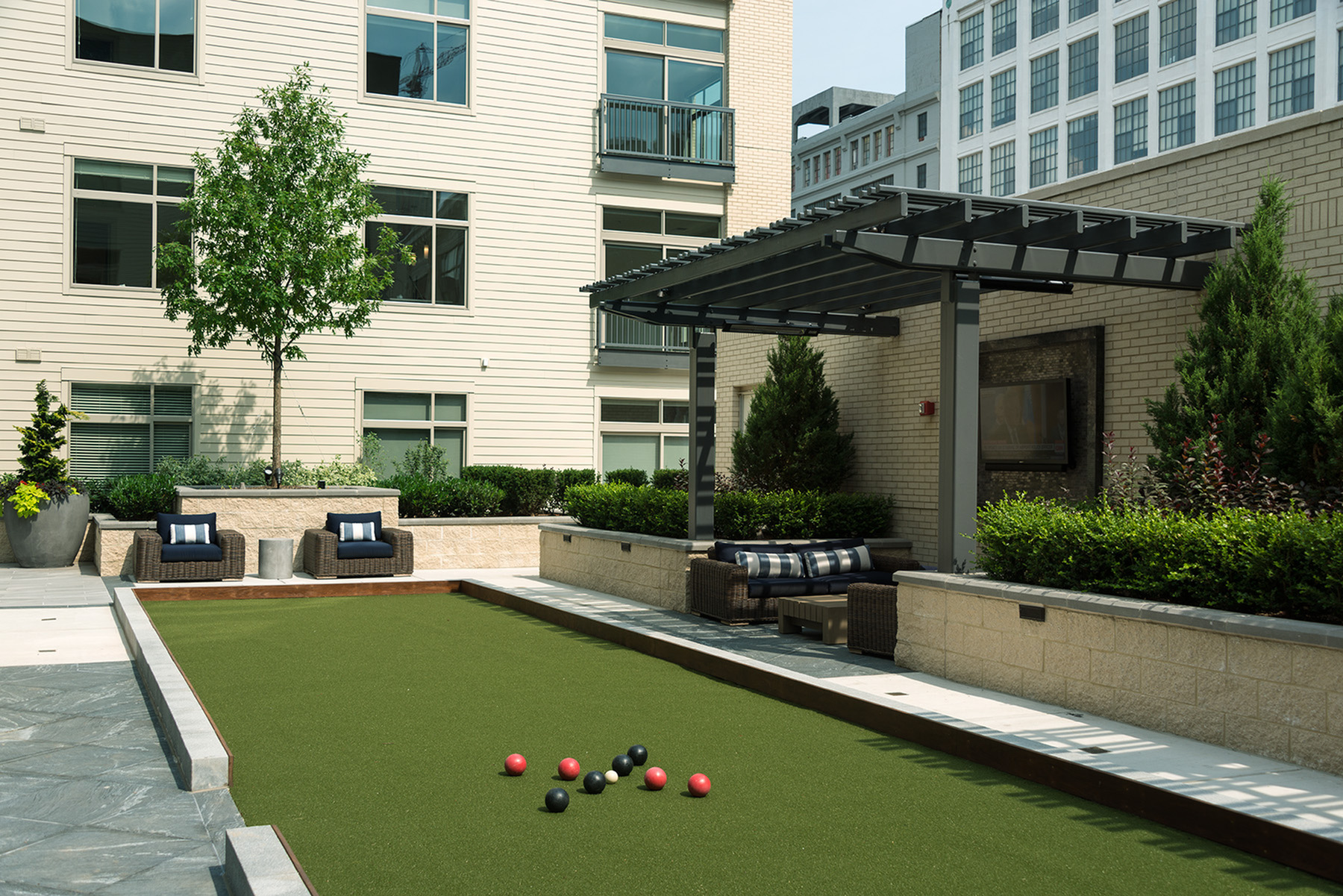 Image of Bocce ball court and outdoor Jenga table for Hanover North Broad