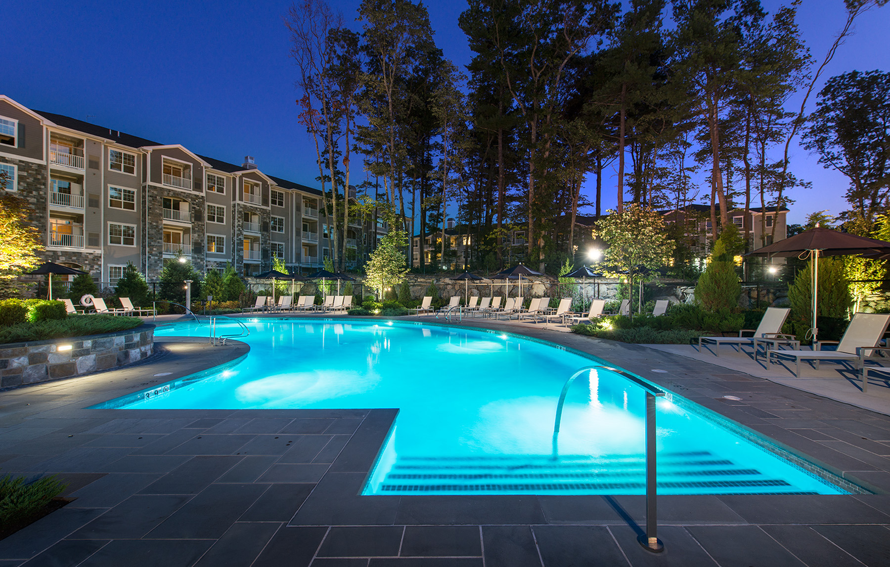 Image of Lavish courtyard with resort-style pool and conversational fire-pit for Hanover Foxborough
