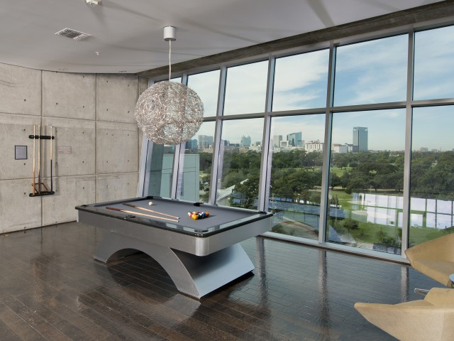 Image of Media lounge with large-screen HDTV and billiards table for Hanover Hermann Park
