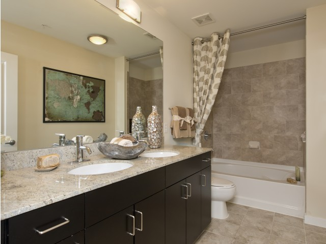 Image of Spa-inspired bathrooms with private stand-up showers and soaking tubs for Hanover Hermann Park