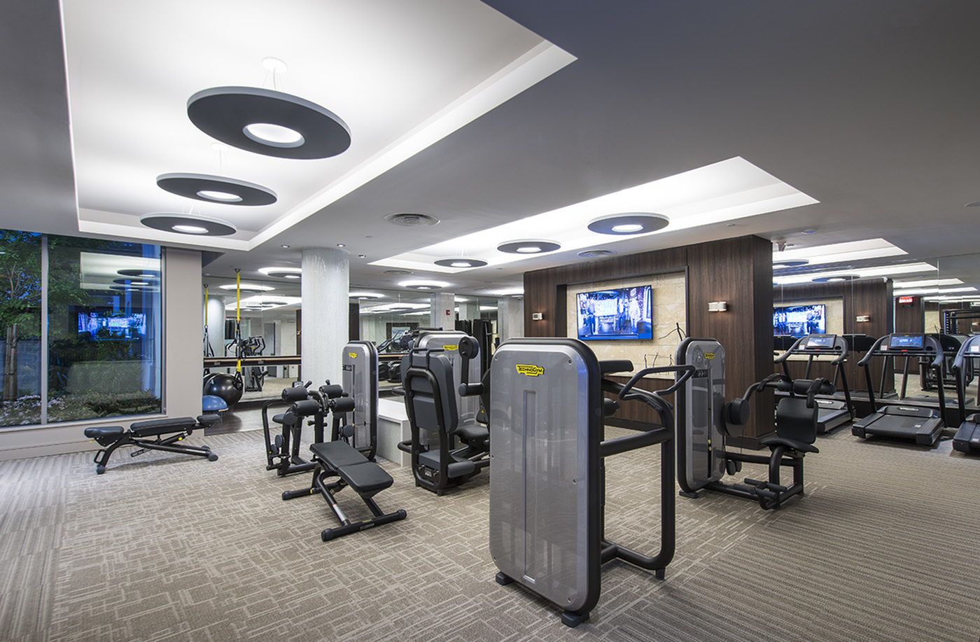 Image of On-site 24-hour fitness center with tablet-integrated cardio machines for Hanover Mission Gorge