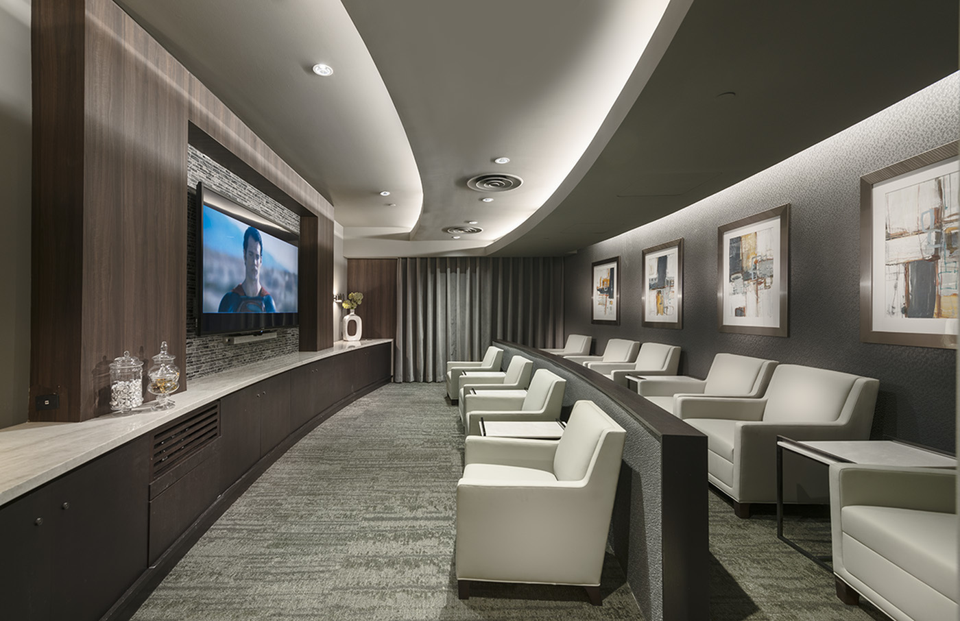 Image of Private Media Room Featuring Surround-Sound and Stadium Seating for Hanover Mission Gorge