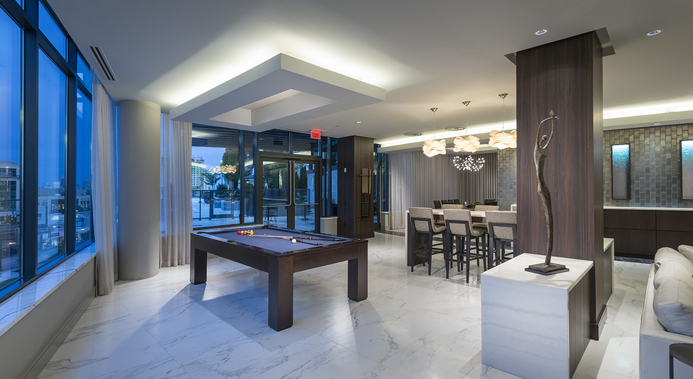 Billiards and Dining area in the Resident Lounge at Hanover Buckhead VIllage