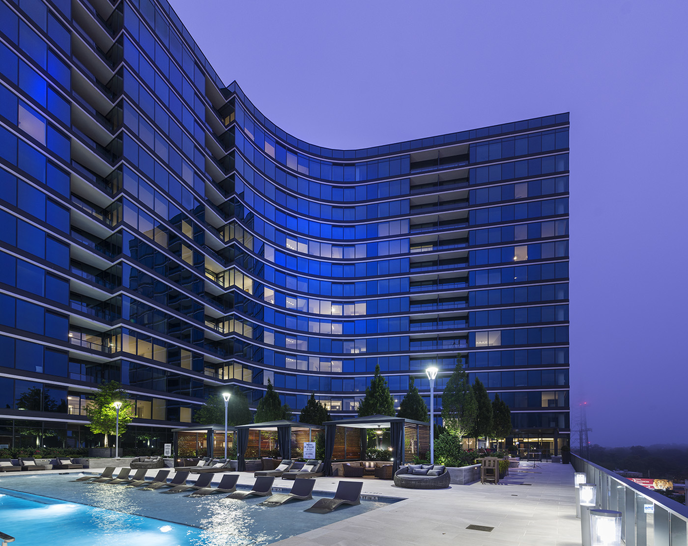 Image of 6th floor pool with private pool-side cabanas for Hanover Buckhead Village