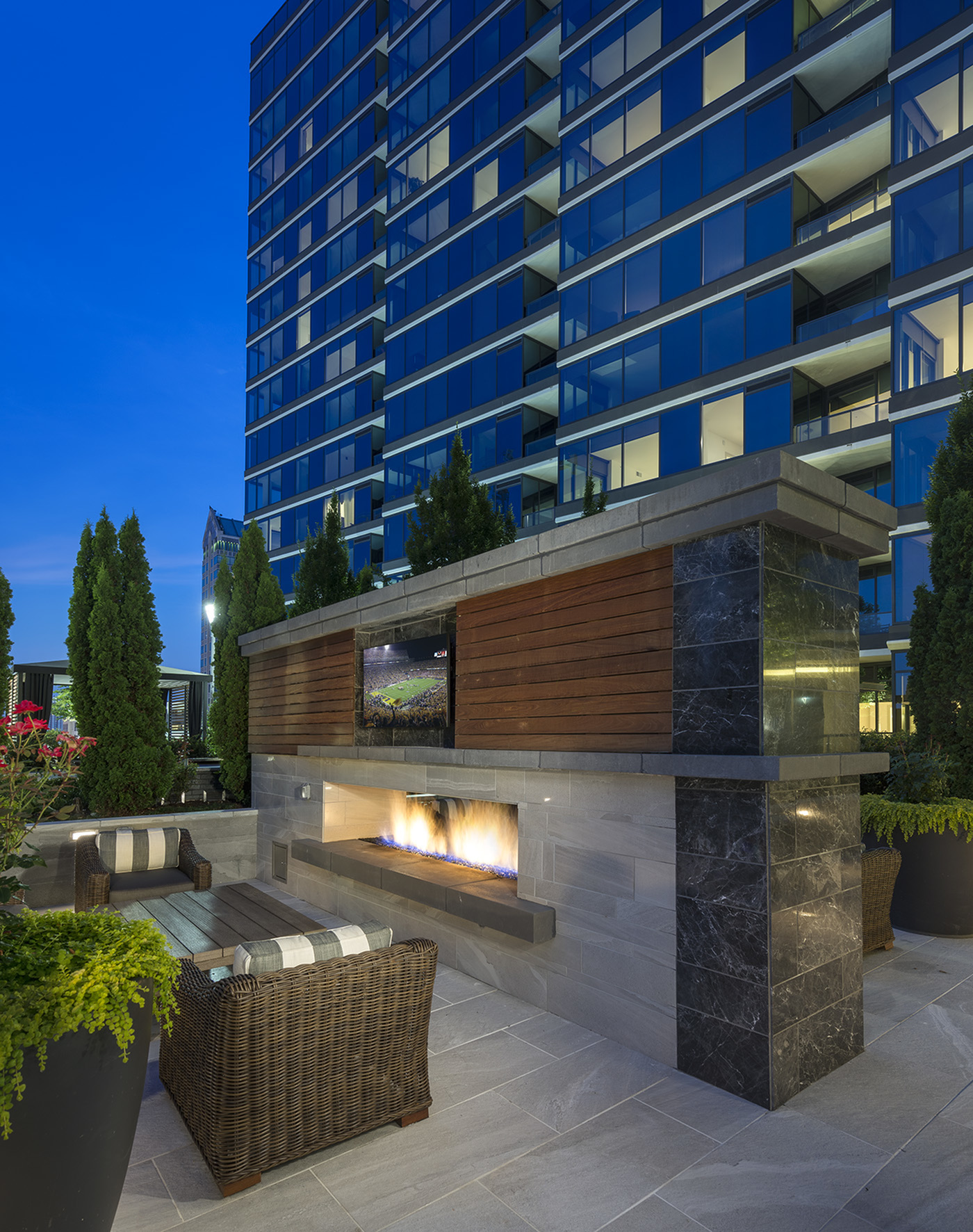 Outdoor Fireplace at Hanover Buckhead Village