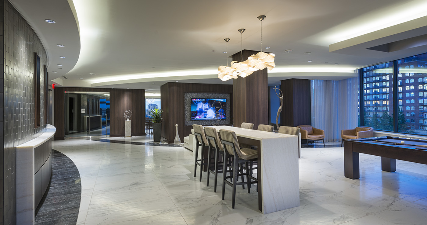 Resident Lounge with Billiards and social gathering area at Hanover Buckhead Village
