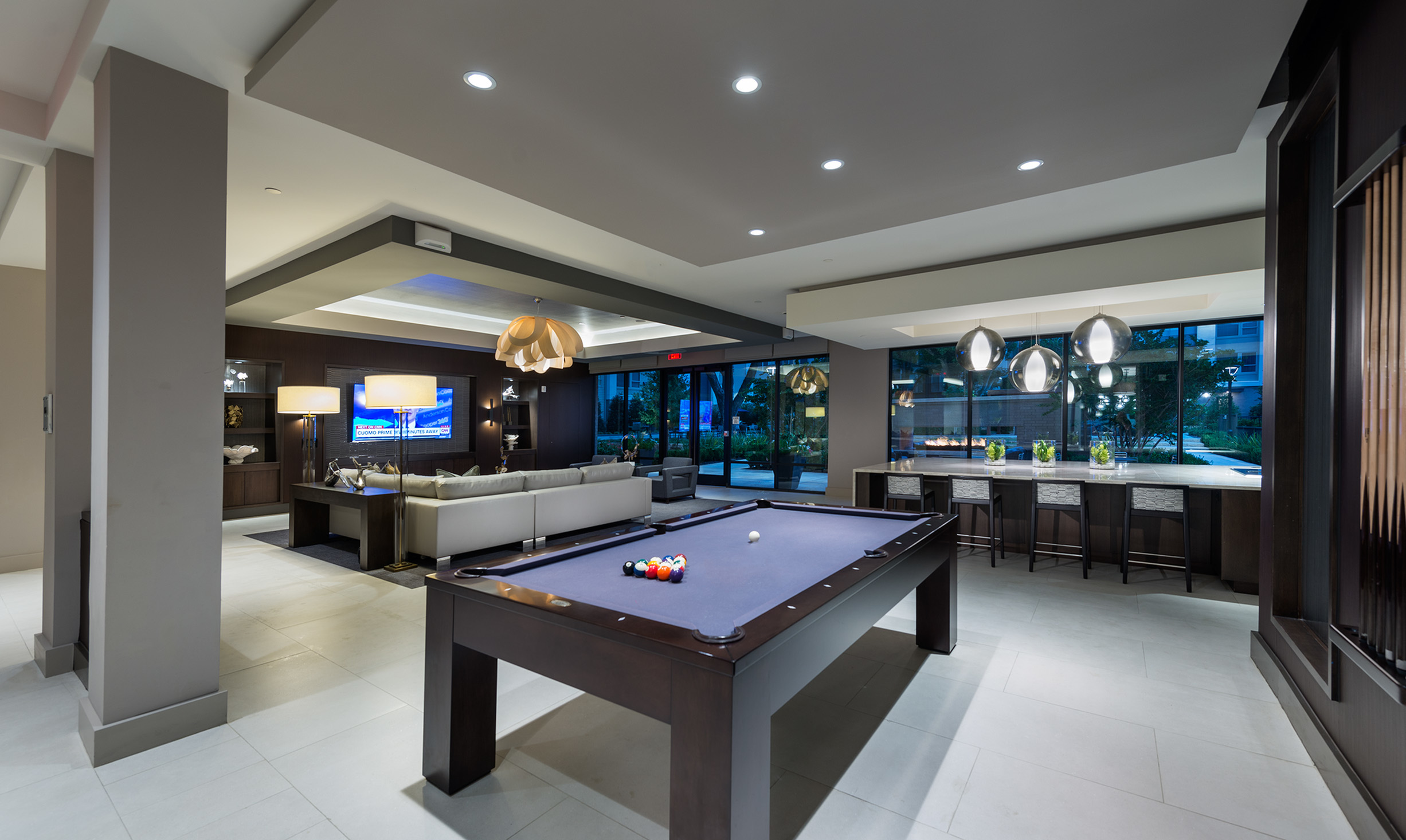 Image of Resident Clubhouse with HDTV lounge and billiards for Hanover Midtown Park